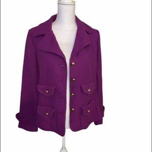 Joan Rivers Purple Blazer with Gold Buttons